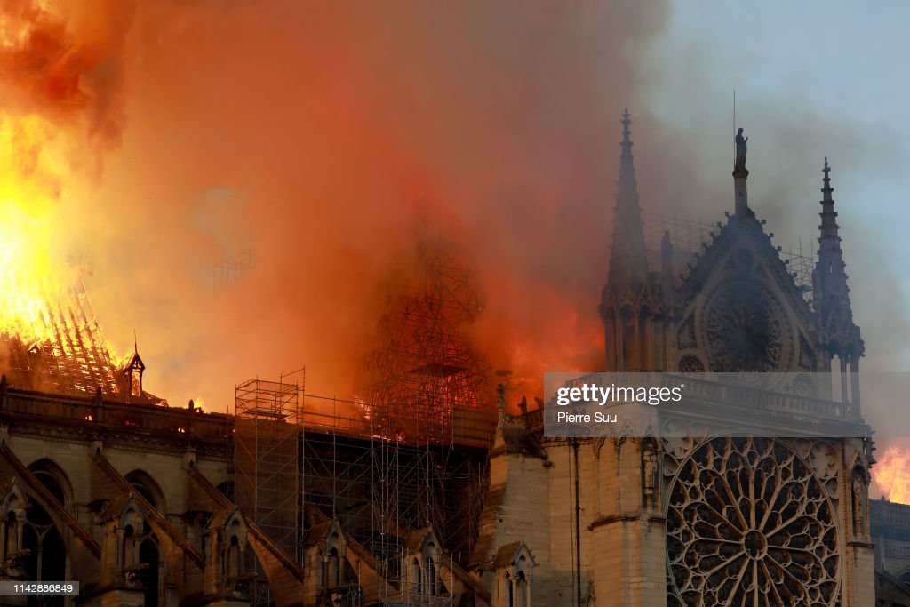 Flames Rise At Notre-Dame Cathedral In Paris : News Photo