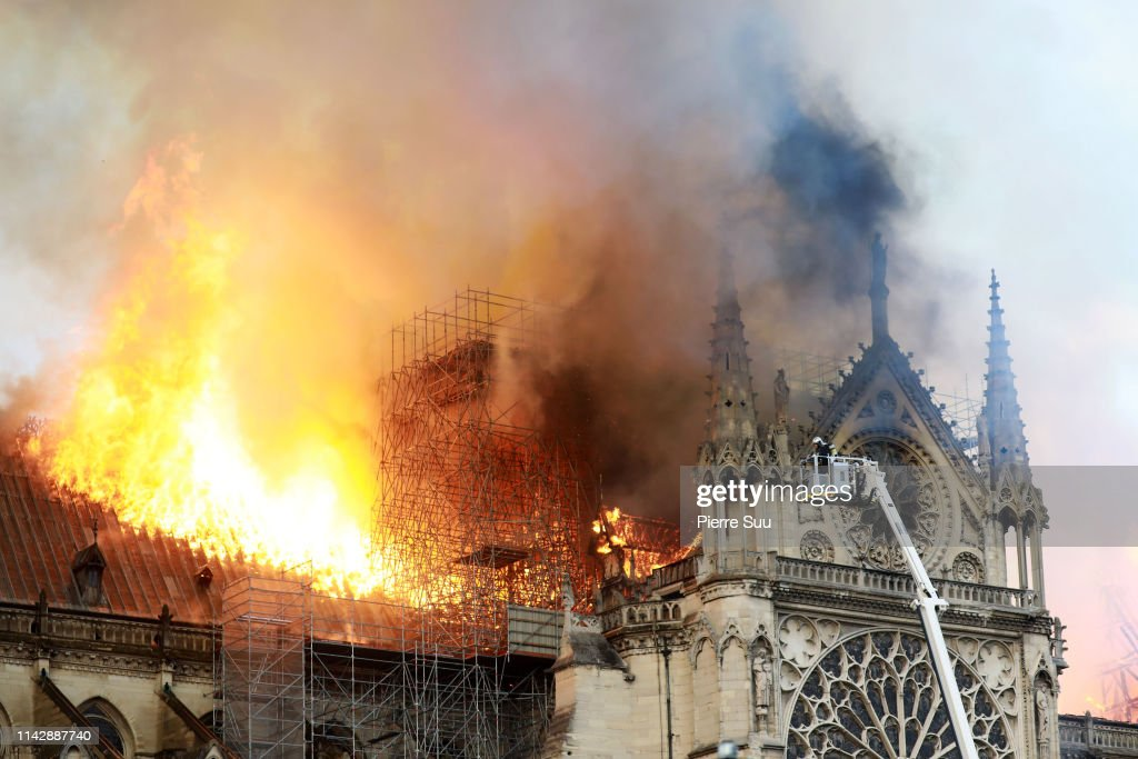 Fire Breaks Out At Iconic Notre-Dame Cathedral In Paris : ニュース写真