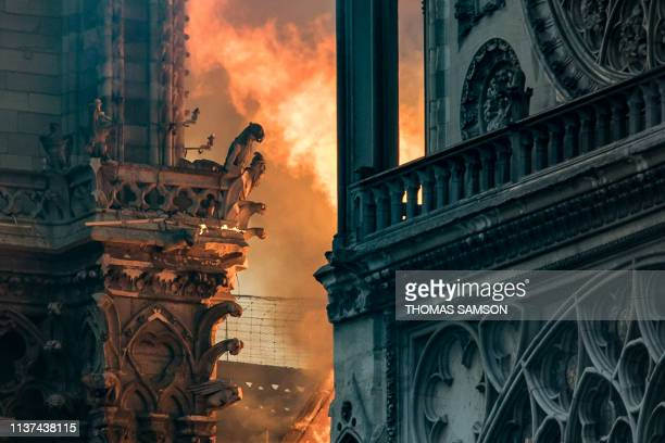 Flames and smoke billow around the gargoyles decorating the roof and sides of the Notre-Dame Cathedral in Paris on April 15, 2019. - A huge fire...