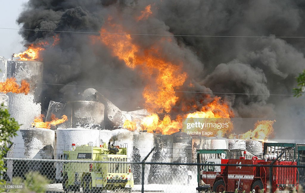 Flames And Smoke Fill The Sky Over Valley Center As Storage Tanks Burn At Barton Solvents