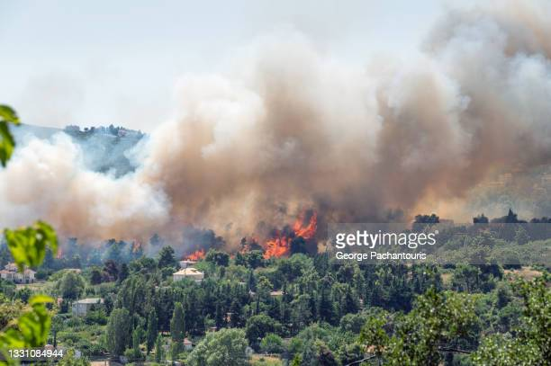 flames and smoke from a forest fire in the summer - greece stock pictures, royalty-free photos & images