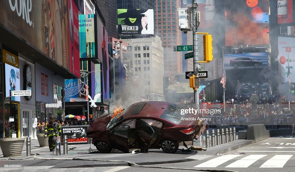 Vehicle plows into several pedestrians in Times Square of NY : News Photo