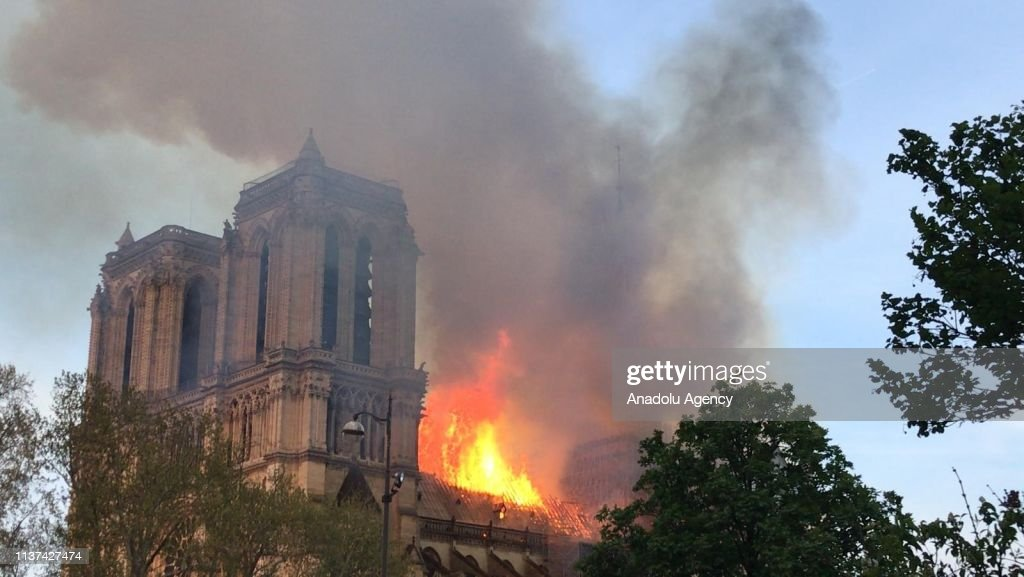 Fire at Notre-Dame Cathedral in Paris : News Photo