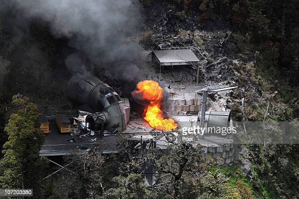 Flames burn out of control from a ventilation shaft at the Pike River Mine on November 30 2010 in Greymouth New Zealand Rescue teams have been...