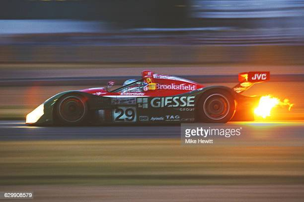 Flames burst from the exhaust as Christian Pescatori of Italy drives the JB JabouilleBouresche Racing LMP Ferrari 333 SP during the ACO European Le...