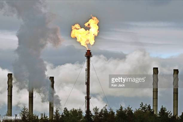 Flames come from the flarestack at ExxonMobil's Mossmorran plant in Fife in a further incident of unplanned flaring, on October 4, 2020 in...