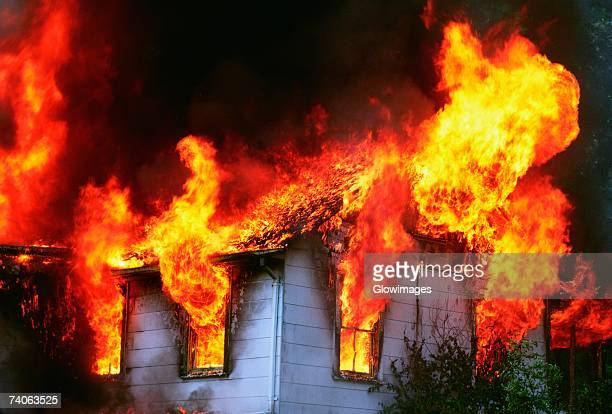 Flames emitting out of a burning house, Montgomery County, Maryland, USA