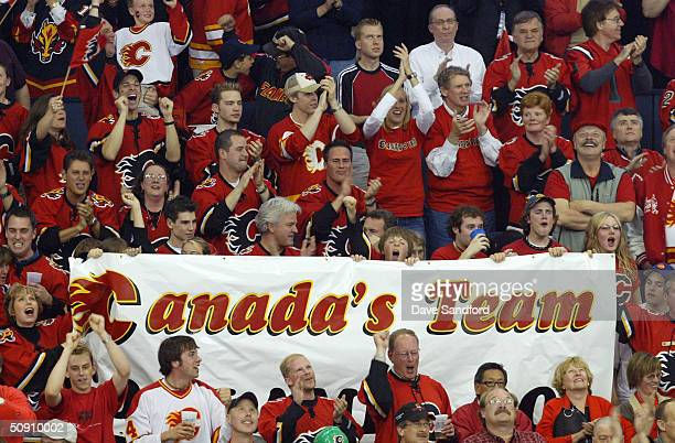 Flames fans show their support for the Calgary Flames against the Tampa Bay Lightning in game three of the NHL Stanley Cup Finals on May 29 2004 at...