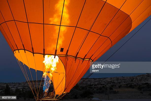 Flames from a balloon ready to go up in the air