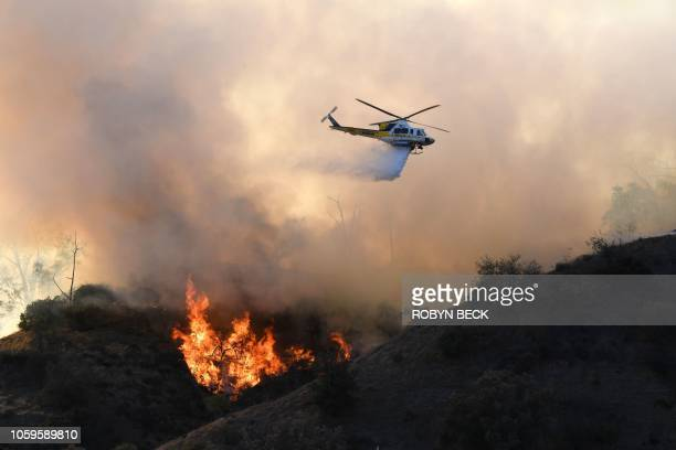 TOPSHOT Flames from a wildfire burn a portion of Griffith Park in Los Angeles California November 9 2018 Staff at the Los Angeles Zoo which is...