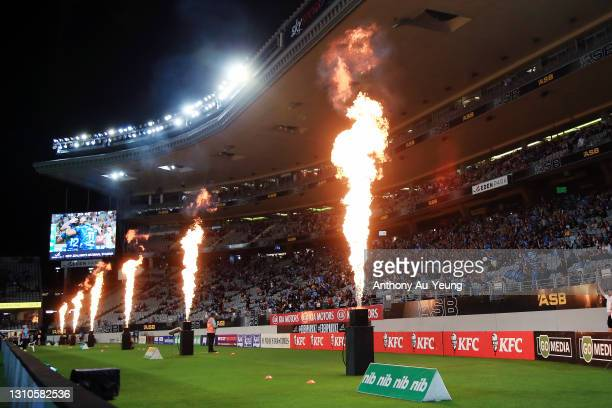 Flames go off after a try is scored during the round 6 Super Rugby Aotearoa match between the Blues and the Hurricanes at Eden Park, on April 03 in...