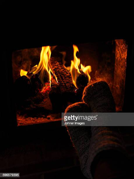 Flames in fireplace