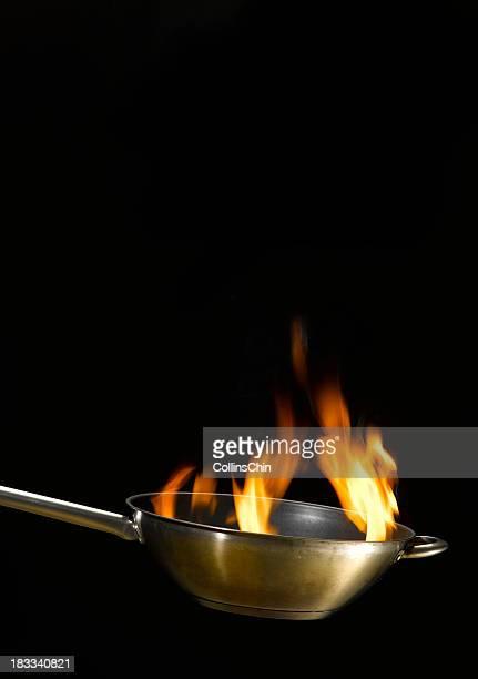 Flames in wok