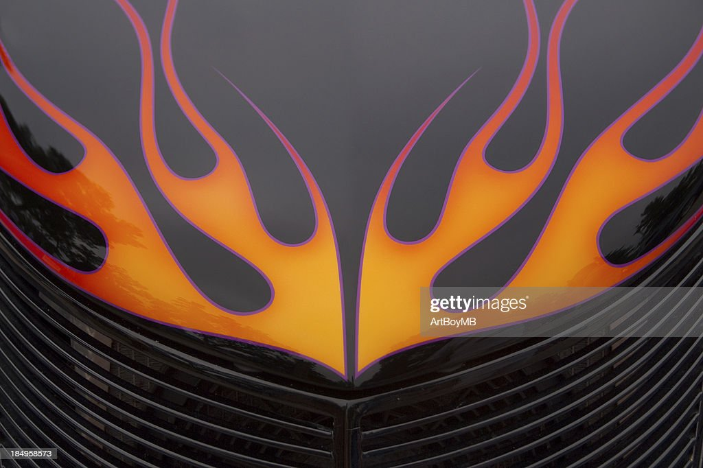 Flames on Hood : Stock Photo