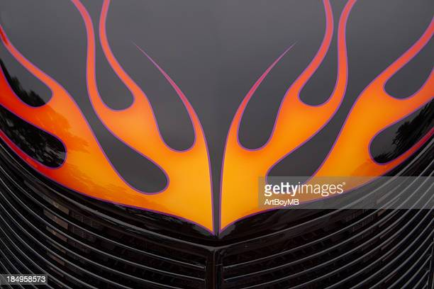 flames on hood - hot rod car stock photos and pictures