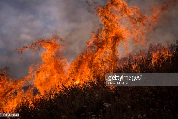 Flames rise from the La Tuna Fire on September 2 2017 near Burbank California Los Angeles Mayor Eric Garcetti said at a news conference that...