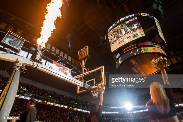 Flames shoot from the goal posts prior to the SEC regular season game between the Missouri Tigers and the Florida Gators on Saturday September 6 2018...