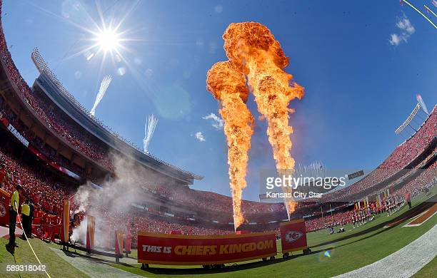 Flames shoot into the air as the Kansas City Chiefs are introduced before a preseason game against the Seattle Seahawks on Saturday Aug 13 at...