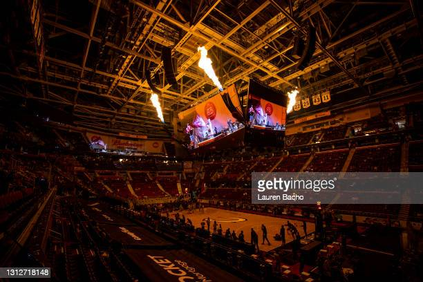Flames shoot out of the scoreboard as the starting lineup for the Cleveland Cavaliers is announced before their home game against the Golden State...