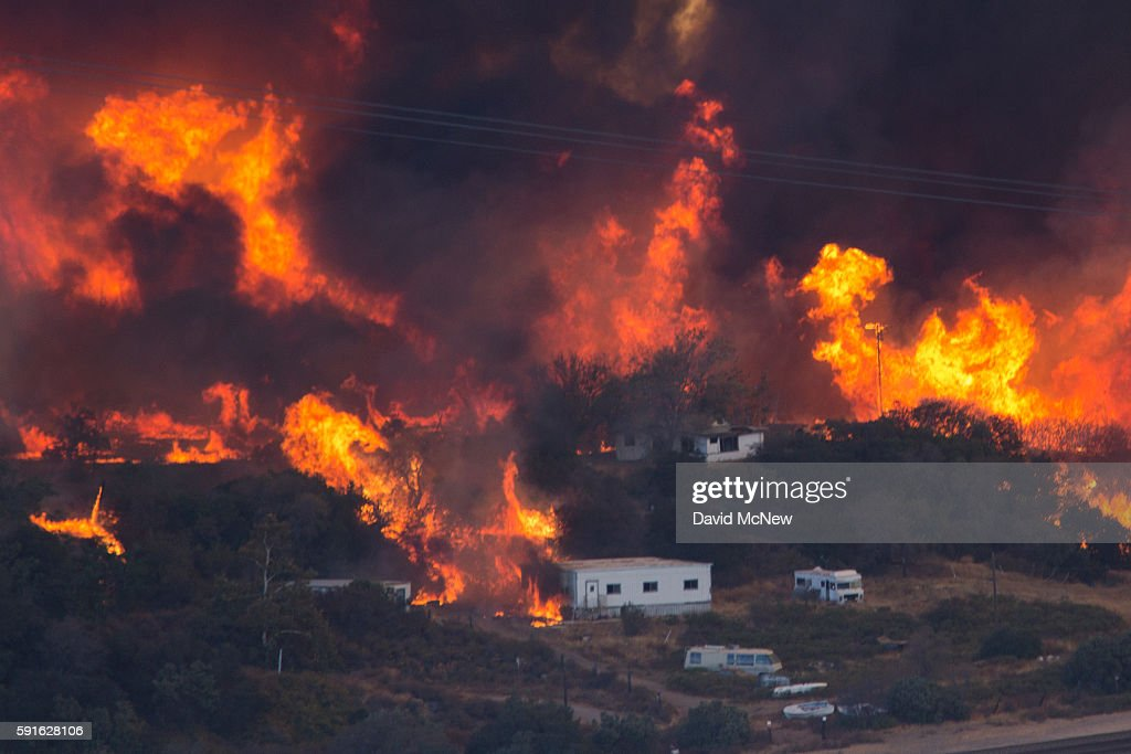 Blue Cut Fire Rages Through 30,000 Acres In Southern California : News Photo