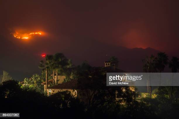 Flames threaten homes at the Thomas Fire on December 16 2017 in Montecito California The National Weather Service has issued red flag warnings of...