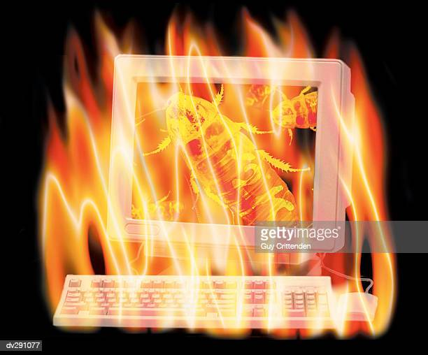 Flaming computer showing Y2K bugs