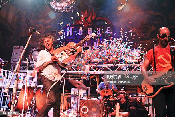 Flaming Lips frontman Wayne Coyne performs as they break the World Record for The Most Live Concerts Performed in 24 Hours in Mulitple Cities during...