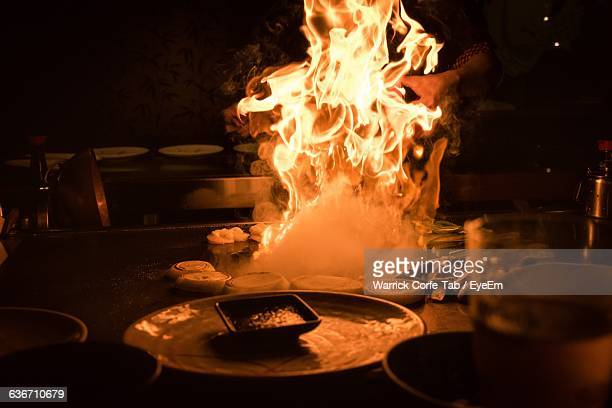 Flaming Pan In Commercial Kitchen