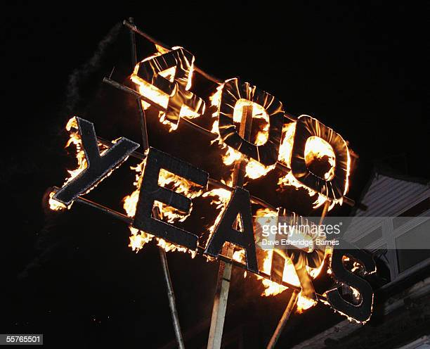 A flaming sign marking the 400th anniversary of the gunpowder plot is seen during the first of the Bonfire Night celebrations on September 24 2005 in...
