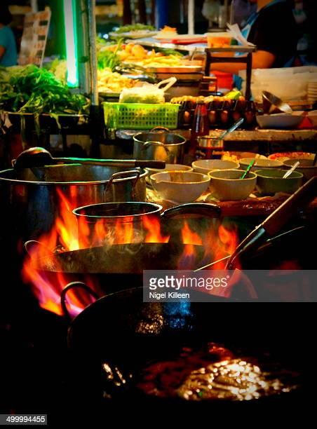Flaming Thai street food cooking