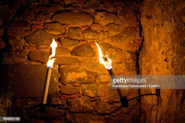flaming torch in - cave fire stock photos and pictures