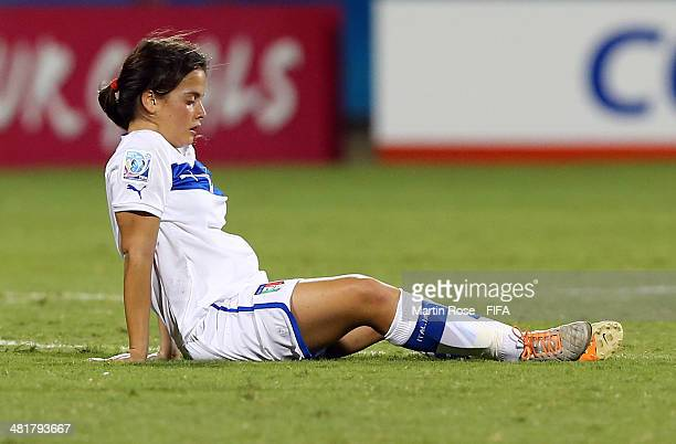 Flaminia Simonetti of Italy looks dejected after the FIFA U17 Women's World Cup 2014 semi final match between Italy and Spain at Edgardo Baltodano...