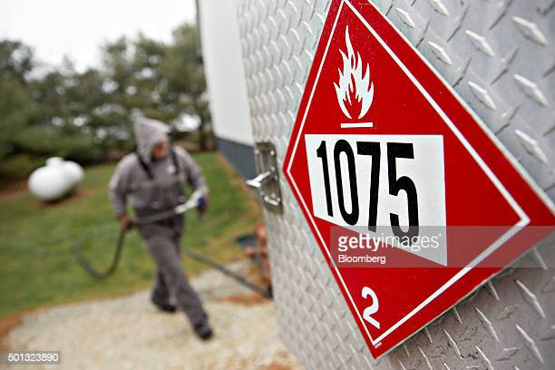 Flammable hazard placard is displayed on a Michlig Energy truck that during a deliver of liquid propane to a home in Manlius Illinois US on Monday...