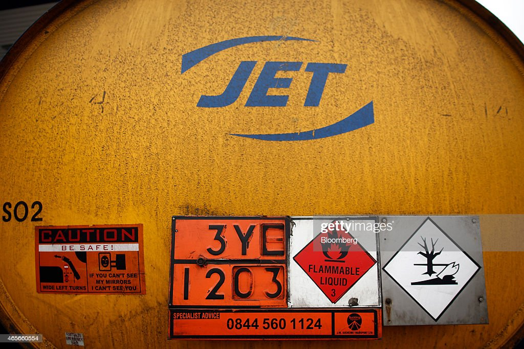 A Flammable Liquid Warning Symbol Sits On The Rear Of A Fuel