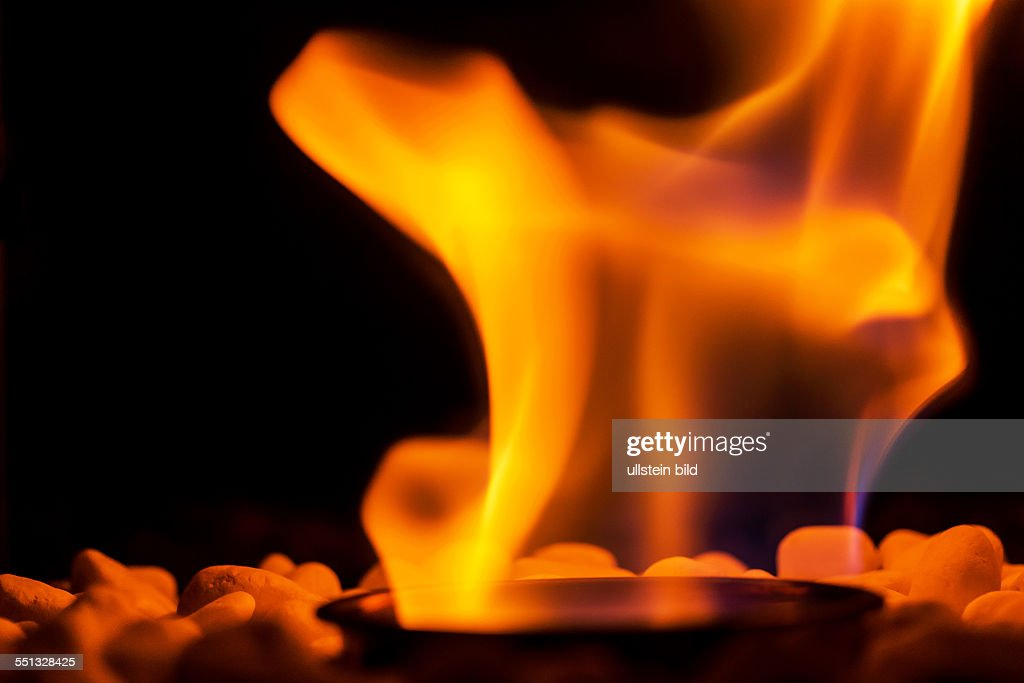 Flammen Von Einem Offenen Feuer In Einem Kamin Lodern Offene