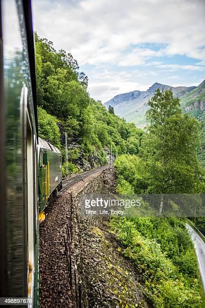 flam-myrdal train tour course - flanco de valle fotografías e imágenes de stock