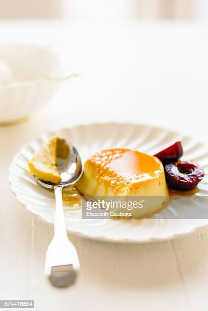 Flan and Dark Cherries