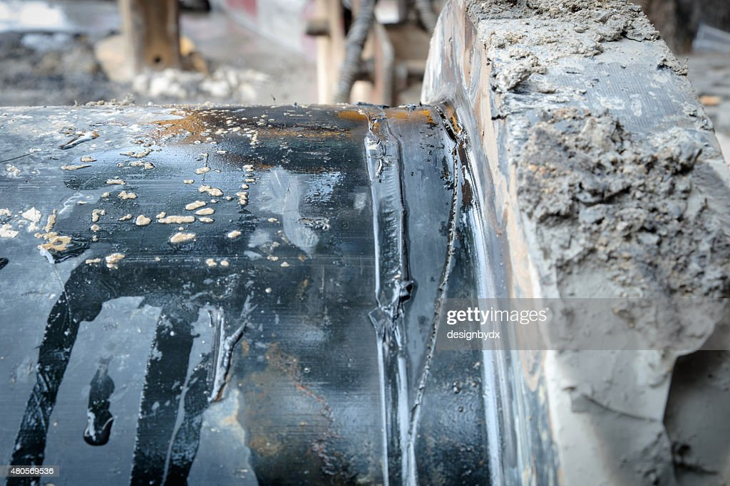 HDPE flange pipe failure HDPE : Stock Photo