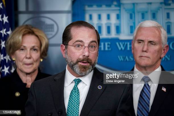 Flanked by Debbie Birx, White House Corona Virus Response Coordinator, and U.S. Vice President Mike Pence, Alex Azar, Secretary of Health and Human...
