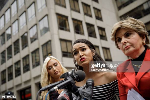 Flanked by former Houston Texans cheerleader Hannah Turnbow and attorney Gloria Allred former Texans cheerleader Angelina Rose becomes emotional as...