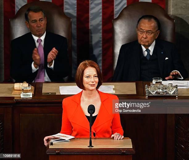 Flanked by Speaker of the House John Boehner and Senate President Pro Tempe Daniel Inouye Australian Prime Minister Julia Gillard addresses a joint...