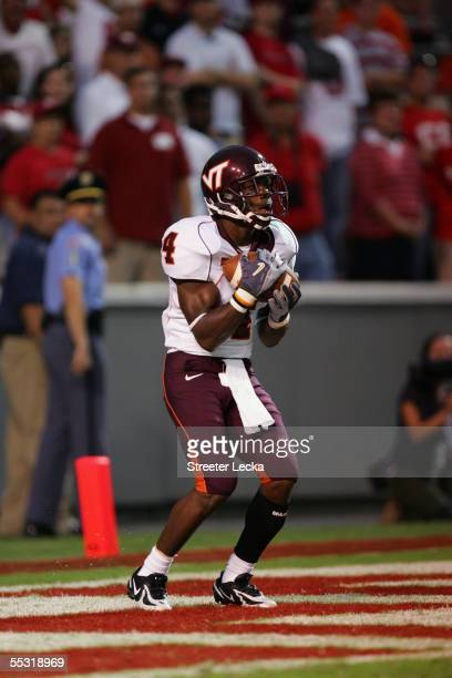 Flanker Eddie Royal of the Virginia Polytechnic Institute and State University Hokies catches a punt during the game against the North Carolina State...
