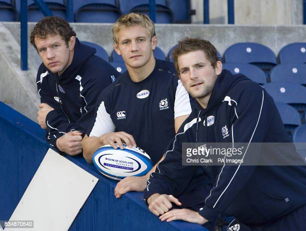 Flanker Jason White No8 Simon Taylor and flanker John Barclay during the Scottish International Rugby team selection press conference at Murrayfield...