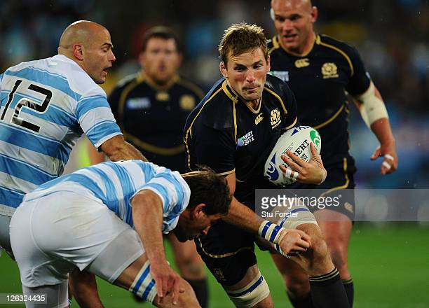 Flanker John Barclay of Scotland charges upfield during the IRB 2011 Rugby World Cup Pool B match between Argentina and Scotland at Wellington...