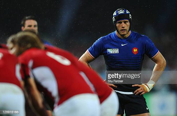 Flanker Julien Bonnaire of France looks on during the IRB 2011 Rugby World Cup Pool A match between France and Canada at McLean Park on September 18...