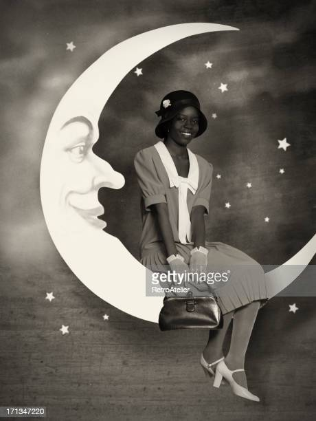 Flapper girl.On the moon