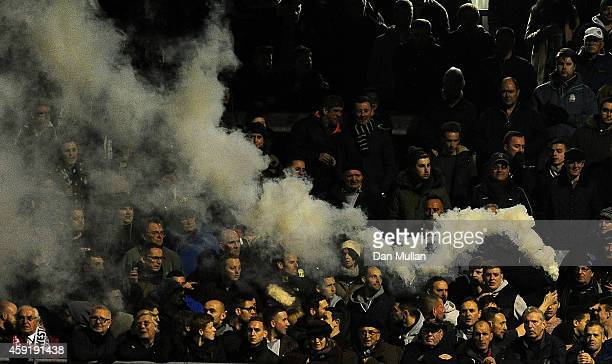 A flare is let off during the FA Cup First Round match between WestonSuperMare and Doncaster Rovers on November 18 2014 in WestonSuperMare England