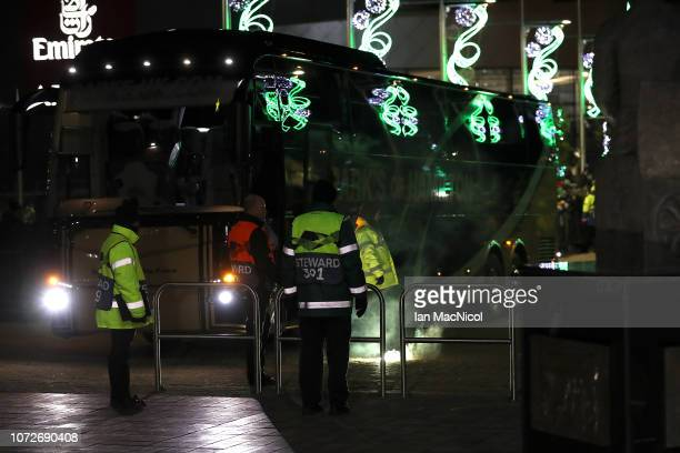 A flare is seen on the floor after being thrown at a bus ahead of the UEFA Europa League Group B match between Celtic and RB Salzburg at Celtic Park...