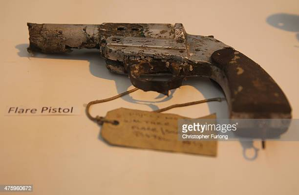 A flare pistol recovered from of a German World War II Dornier 17 aircraft sits in a hangar at The Royal Air Force Museum Cosford after being...