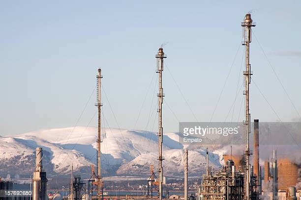 flare stacks at grangemouth oil refinery, scotland. - flare stack stock photos and pictures
